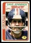 1978 Topps #248  Dave Jennings  Front Thumbnail
