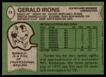 1978 Topps #73  Gerald Irons  Back Thumbnail