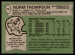 1978 Topps #29  Norm Thompson  Back Thumbnail