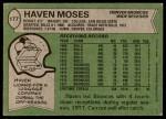 1978 Topps #177  Haven Moses  Back Thumbnail