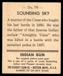 1947 Goudey Indian Gum #76   Sounding Sky Back Thumbnail