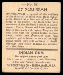 1947 Goudey Indian Gum #58   Zy-You-Wah Back Thumbnail