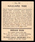 1947 Goudey Indian Gum #60   Nascapee Tribe Back Thumbnail