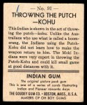 1947 Goudey Indian Gum #91   Throwing Putch-Kohu Back Thumbnail