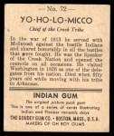 1947 Goudey Indian Gum #72   Yo-Ho-Lo-Micco Back Thumbnail