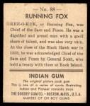 1947 Goudey Indian Gum #88   Running Fox Back Thumbnail
