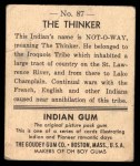 1947 Goudey Indian Gum #87   The Thinker Back Thumbnail