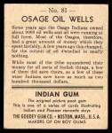 1947 Goudey Indian Gum #81   Osage Oil Wells Back Thumbnail