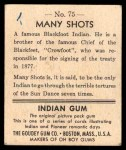 1947 Goudey Indian Gum #75   Many Shots Back Thumbnail