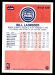 1986 Fleer #61  Bill Laimbeer  Back Thumbnail