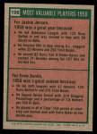 1975 Topps Mini #196   -  Jackie Jensen / Ernie Banks 1958 MVPs Back Thumbnail
