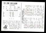 1962 Bell Brand Dodgers #19  Jim Gilliam  Back Thumbnail
