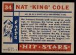 1957 Topps Hit Stars #34  Nat King Cole   Back Thumbnail