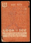 1952 Topps Look 'N See #15  Babe Ruth  Back Thumbnail