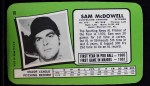 1971 Topps Super #16  Sam McDowell  Back Thumbnail