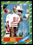 1986 Topps #161  Jerry Rice  Front Thumbnail