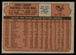 1972 Topps #727  Jose Laboy  Back Thumbnail