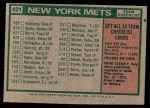 1975 Topps Mini #421   -  Yogi Berra Mets Team Checklist Back Thumbnail