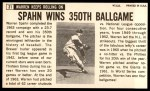 1964 Topps Giants #31  Warren Spahn   Back Thumbnail