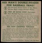 1952 Red Man #5 AL x Dom DiMaggio  Back Thumbnail