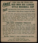 1954 Red Man #21 AL Bob Lemon  Back Thumbnail