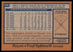 1978 Topps #638  Paul Splittorff  Back Thumbnail