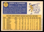 1970 Topps #213  Andy Etchebarren  Back Thumbnail