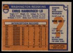 1976 Topps #330  Chris Hanburger  Back Thumbnail