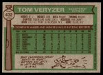 1976 Topps #432  Tom Veryzer  Back Thumbnail