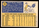 1970 Topps #639  Dave Campbell  Back Thumbnail