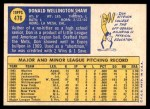 1970 Topps #476  Don Shaw  Back Thumbnail