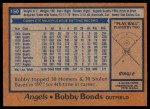 1978 Topps #150  Bobby Bonds  Back Thumbnail