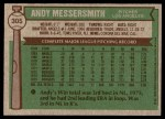 1976 Topps #305  Andy Messersmith  Back Thumbnail