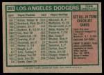 1975 Topps #361   -  Walter Alston Dodgers Team Checklist Back Thumbnail