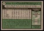 1979 Topps #574  Claudell Washington  Back Thumbnail