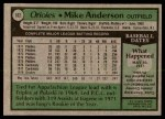 1979 Topps #102  Mike Anderson  Back Thumbnail