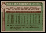 1976 Topps #137  Bill Robinson  Back Thumbnail