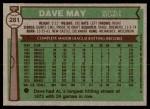 1976 Topps #281  Dave May  Back Thumbnail