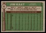 1976 Topps #80  Jim Kaat  Back Thumbnail