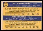 1970 Topps #444   -  John Matias / Bill Farmer White Sox Rookies Back Thumbnail