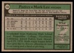1979 Topps #138  Mark Lee  Back Thumbnail