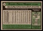 1979 Topps #72  Steve Mingori  Back Thumbnail