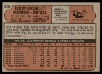 1972 Topps #628  Terry Crowley  Back Thumbnail
