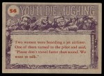 1959 Topps / Bubbles Inc You'll Die Laughing #56   Do you believe in humans? Back Thumbnail