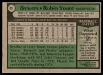 1979 Topps #95  Robin Yount  Back Thumbnail