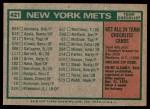 1975 Topps #421   -  Yogi Berra Mets Team Checklist Back Thumbnail