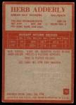 1965 Philadelphia #72  Herb Adderley  Back Thumbnail