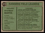 1974 Topps #379   -  Billy Martin / Art Fowler / Frank Lucchesi / Jackie Moore / Charlie Silvera Rangers Leaders   Back Thumbnail