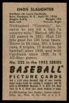 1952 Bowman #232  Enos Slaughter  Back Thumbnail