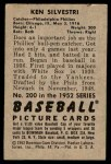 1952 Bowman #200  Ken Silvestri  Back Thumbnail